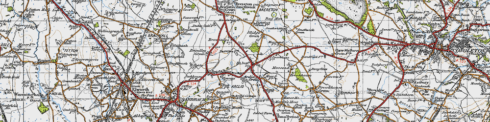 Old map of Arclid in 1947