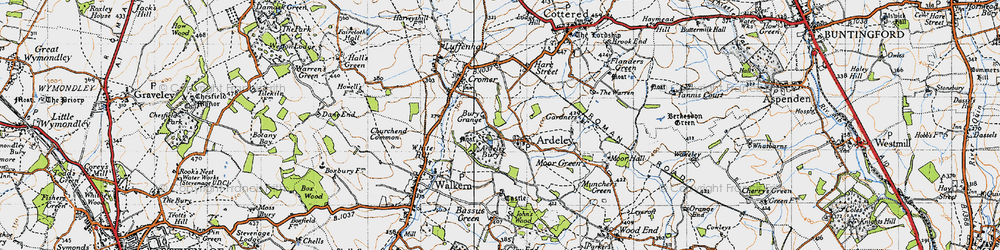 Old map of Ardeley Bury in 1946