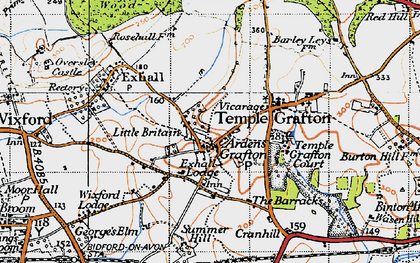 Old map of Ardens Grafton in 1947