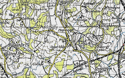 Old map of Ardingly in 1940