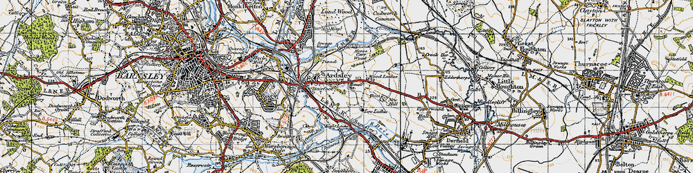 Old map of Ardsley in 1947
