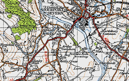 Old map of Areley Kings in 1947