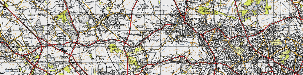Old map of Arkley in 1946