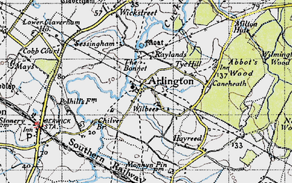 Old map of Tye Hill in 1940