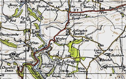 Old map of Arlington Beccott in 1946