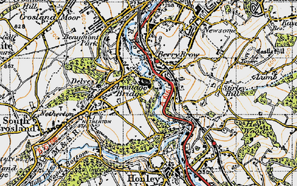 Old map of Armitage Bridge in 1947