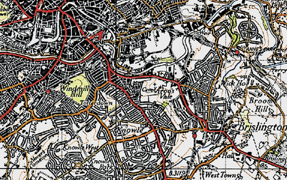 Old map of Arno's Vale in 1946