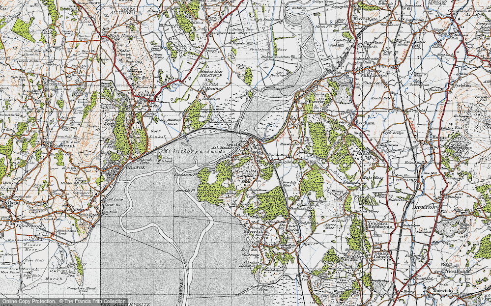Old Map of Historic Map covering Ash Meadow in 1947