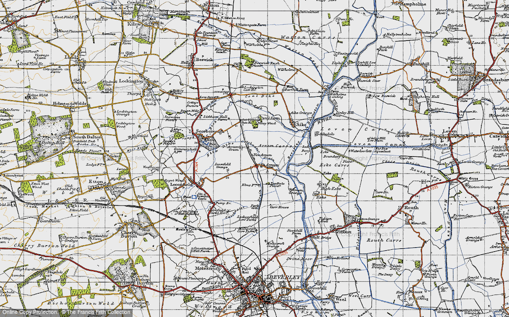 Old Map of Historic Map covering Leconfield Low Parks in 1947