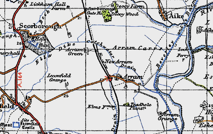 Old map of Arram in 1947