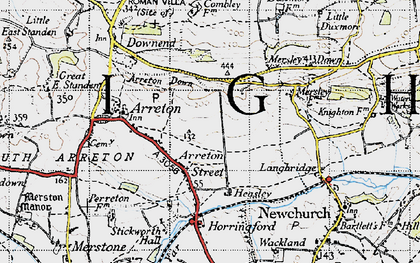 Old map of Arreton in 1945