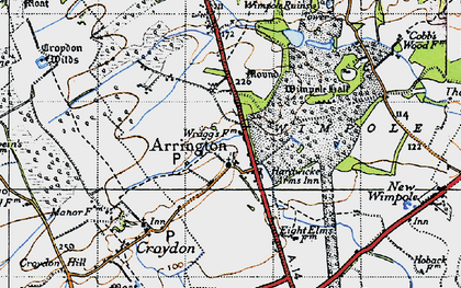 Old map of Arrington in 1946
