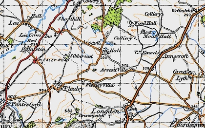 Old map of Arscott in 1947