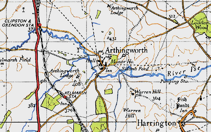 Old map of Arthingworth Lodge in 1946