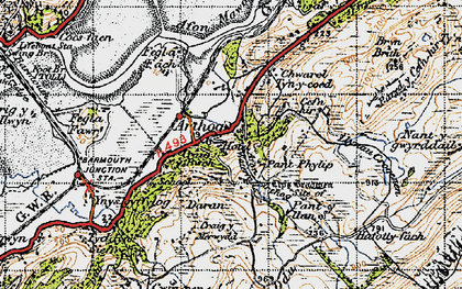 Old map of Arthog in 1947