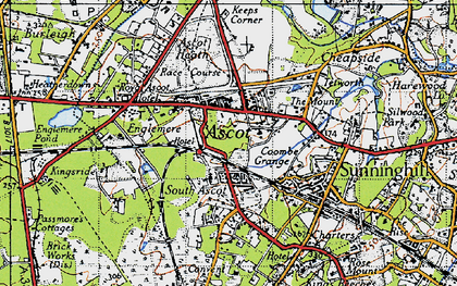 Old map of Ascot in 1940