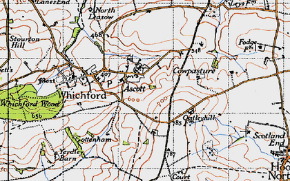 Old map of Ascott in 1946