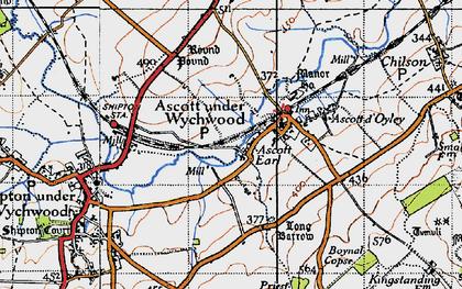 Old map of Ascott Earl in 1946