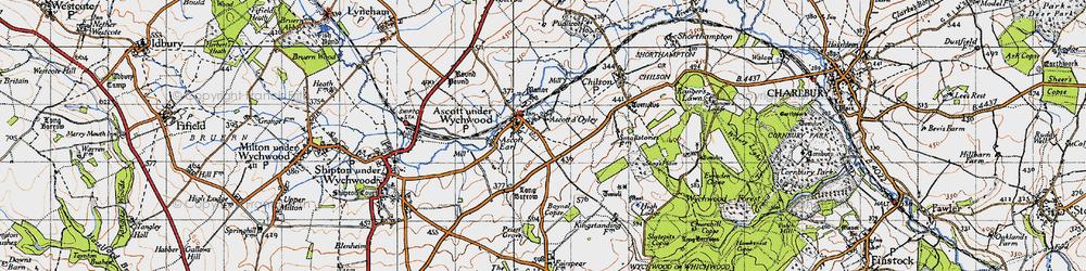 Old map of Ascott-under-Wychwood in 1946