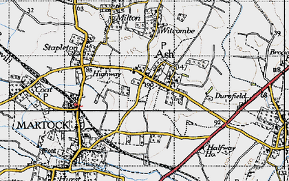 Old map of Ash in 1945