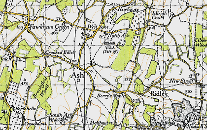 Old map of Ash in 1946