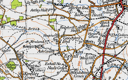 Old map of Ash Green in 1946