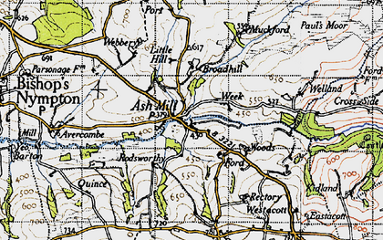 Old map of Ash Mill in 1946