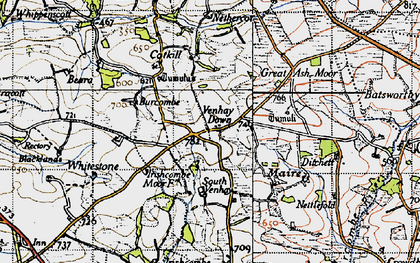 Old map of Ash Moor in 1946