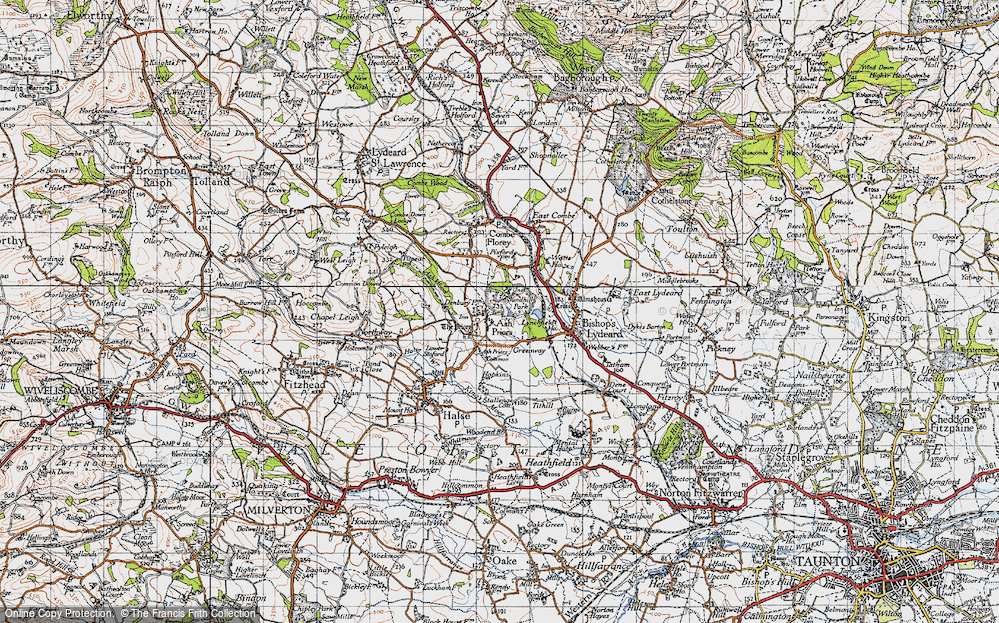 Old Map of Ash Priors, 1946 in 1946