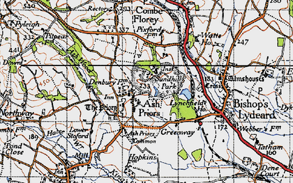 Old map of Ash Priors in 1946
