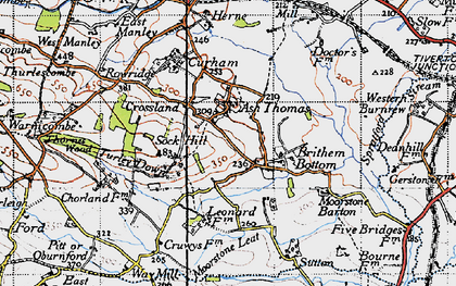 Old map of Ash Thomas in 1946