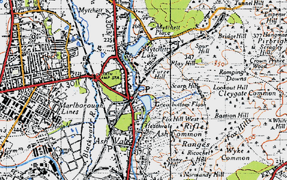 Old map of Ash Vale in 1940