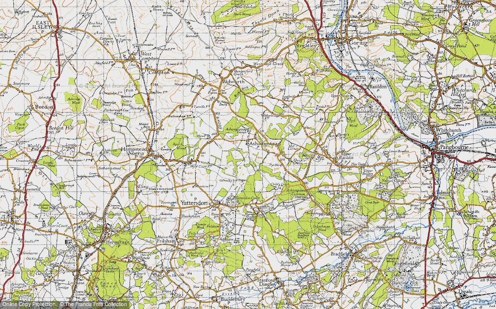 Old Map of Historic Map covering Wyld Court Rainforest in 1947