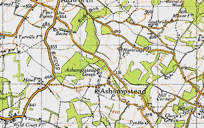Old map of Ashampstead Green in 1947