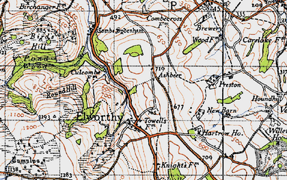 Old map of Ashbeer in 1946