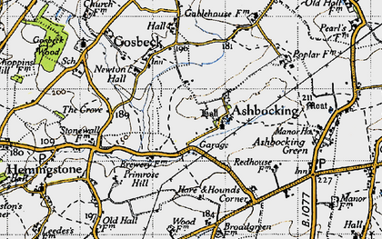 Old map of Ashbocking Hall in 1946