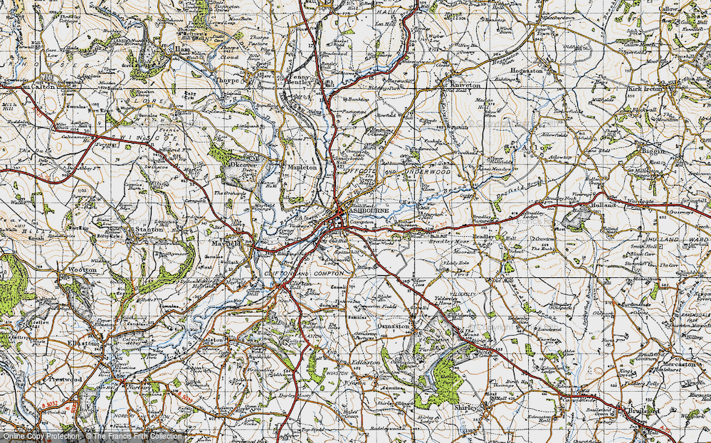 Old Map of Historic Map covering Ashbourne Green in 1946