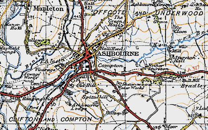Old map of Ashbourne in 1946