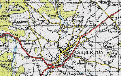 Old map of Ashburton in 1946