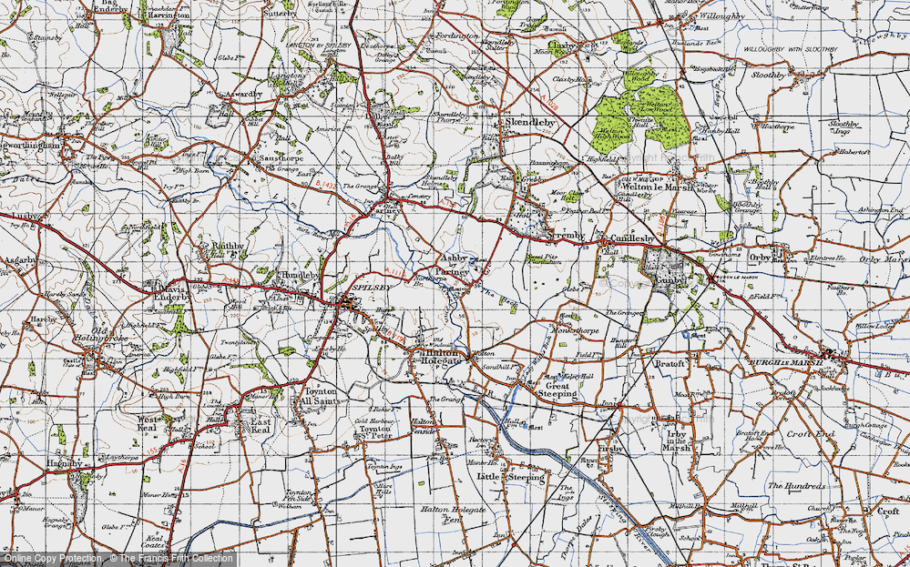 Old Map of Ashby by Partney, 1946 in 1946
