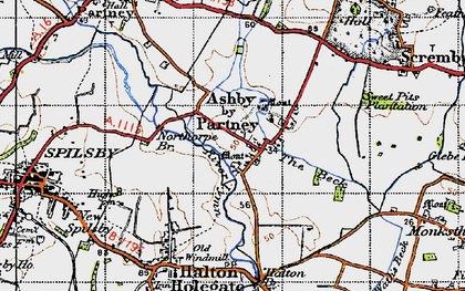 Old map of Ashby by Partney in 1946