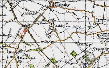 Old map of Ashby cum Fenby in 1946