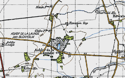 Old map of Ashby de la Launde in 1947