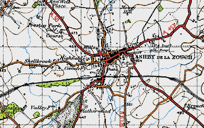 Old map of Ashby-de-la-Zouch in 1946