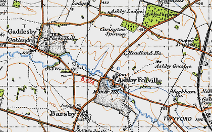 Old map of Ashby Folville in 1946