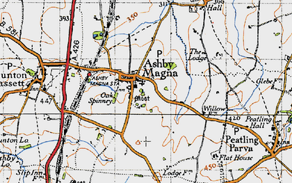 Old map of Ashby Magna in 1946