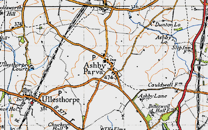 Old map of Ashby Parva in 1946