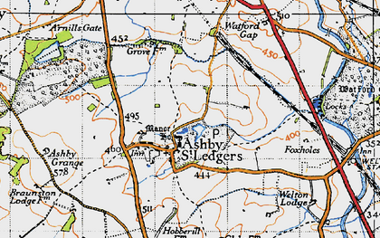 Old map of Ashby St Ledgers in 1946