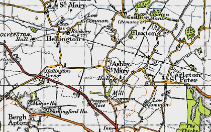 Old map of Ashby St Mary in 1946