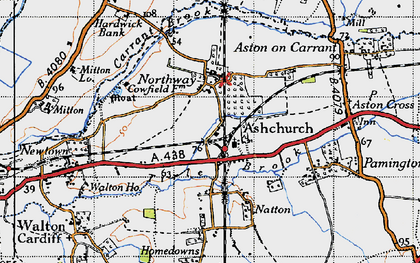 Old map of Ashchurch in 1946